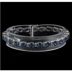 15.60 ctw Blue Sapphire and Diamond Bracelet - 14KT White Gold