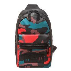 Coach Black Multicolor Camo Canvas Leather Trim Charles Sling Bag