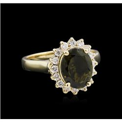 2.63 ctw Green Tourmaline and Diamond Ring - 14KT Yellow Gold