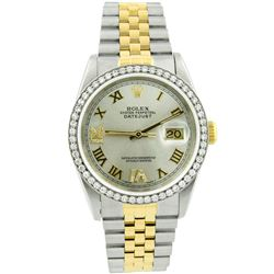 Rolex Unisex Datejust 18KT Yellow Gold & Steel 36mm Silver Roman Diamond Dial Wa