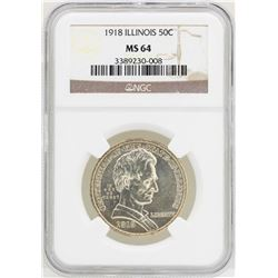 1918 Illinois Centennial Commemorative Half Dollar Coin NGC MS64