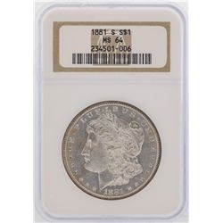 1881-S $1 Morgan Silver Dollar Coin NGC MS64 Great Toning