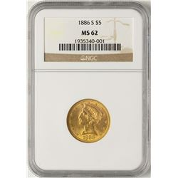 1886-S $5 Liberty Half Eagle Gold Coin NGC MS62