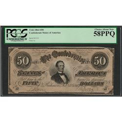 1864 $50 Confederate States of America Note T-66 PCGS Choice About New 58PPQ