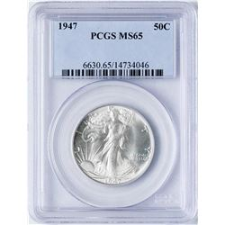 1947 Walking Liberty Half Dollar Coin PCGS MS65