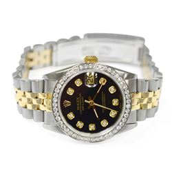 Rolex Ladies Datejust 18KT Yellow Gold & Steel 31mm Black Diamond Watch