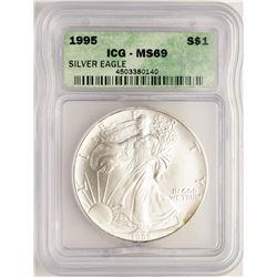 1995 $1 American Silver Eagle Coin ICG MS69