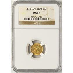 1856 Slanted $1 Indian Princess Head Gold Dollar Coin NGC MS62