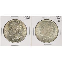 Lot of 1921 & 1921-D $1 Morgan Silver Dollar Coins