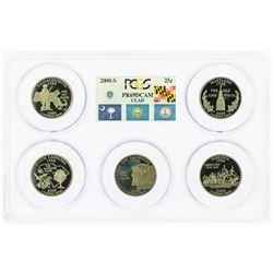 Set of 2000-S (5) Coin Proof State Quarter Coins PCGS PR69DCAM