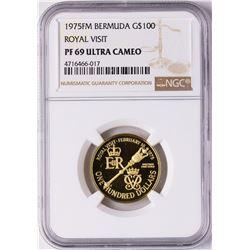 1975FM Bermuda $100 Proof Royal Visit Gold Coin NGC PF69 Ultra Cameo