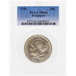 1936 Bridgeport Commemorative Half Dollar Coin PCGS MS66