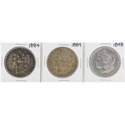 Lot of 1884, 1889, 1898 $1 Morgan Silver Dollar Coins