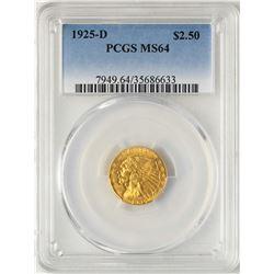 1925-D $2 1/2 Indian Head Quarter Eagle Gold Coin PCGS MS64