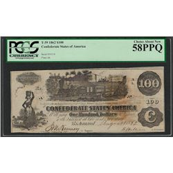 1862 $100 Confederate States of America Note T-39 PCGS About New 58PPQ