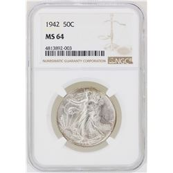 1942 Walking Liberty Half Dollar Coin NGC MS64