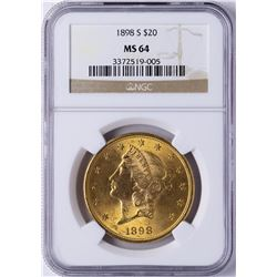 1898-S $20 Liberty Head Double Eagle Gold Coin NGC MS64