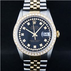 Rolex Mens Two Tone 14K Black String VS Diamond Datejust Wristwatch