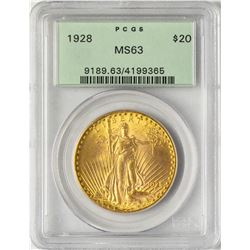 1928 $20 St. Gaudens Double Eagle Gold Coin PCGS MS63 Old Green Holder