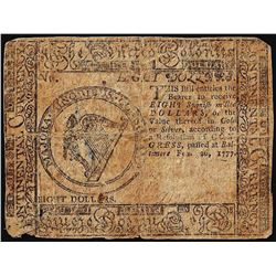 February 26, 1777 $8 Continental Currency Note