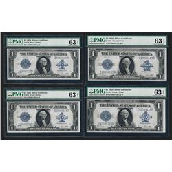 Lot of (4) Consecutive 1923 $1 Silver Certificate Notes PMG Choice Uncirculated