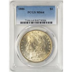 1886 $1 Morgan Silver Dollar Coin PCGS MS64 Nice Reverse Toning