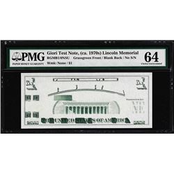 Giori Test Note Lincoln Memorial PMG Choice Uncirculated 64
