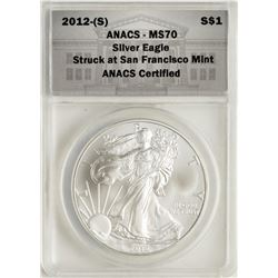 2012-(S) $1 American Silver Eagle Coin ANACS MS70 First Day of Issue