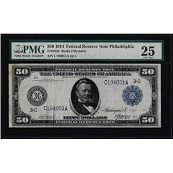 1914 $50 Federal Reserve Note Philadelphia Fr.1032 PMG Very Fine 25