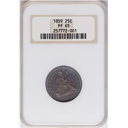 1859 Proof Seated Liberty Quarter Coin NGC PF65 Old Fatty Holder