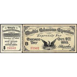 October 9th, 1893 World's Columbian Exposition Ticket with Detached Stub