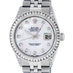 Rolex Mens Stainless Steel MOP Diamond Datejust Wristwatch With Rolex Box