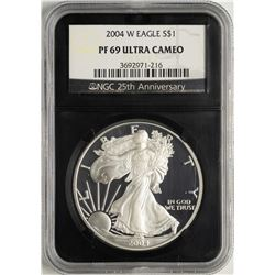 2004-W $1 Proof American Silver Eagle Coin NGC PF69 Ultra Cameo