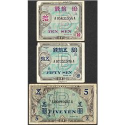 Lot of (3) Series 100 Japanese Military Fractional Currency Notes