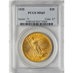1925 $20 St. Gaudens Double Eagle Gold Coin PCGS MS65