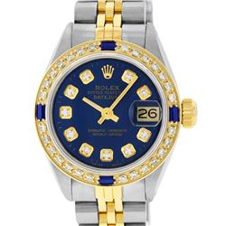 Rolex Ladies Two Tone Blue Diamond & Sapphire Datejust Wristwatch