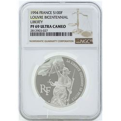 1994 France 100 Francs Louvre Bicentennial Silver Coin NGC PF69 Ultra Cameo