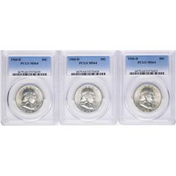 Lot of (3) 1960-D Franklin Half Dollar Coins PCGS MS64