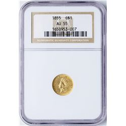 1855 Type 2 $1 Indian Princess Head Gold Dollar Coin NGC AU55