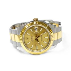 Rolex Mens Datejust II 18KT Yellow Gold & Steel 41mm Champagne Stick Dial Watch