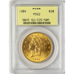 1904 $20 Liberty Head Double Eagle Gold Coin PCGS MS62 Old Green Holder