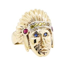 14KT Yellow Gold 0.50 ctw Multi-Color Sapphire Native American Chief Motif Ring