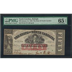 1863 $50 The State of North Carolina Obsolete Note PMG Gem Uncirculated 65EPQ