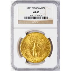 1923 Mexico 50 Pesos Gold Coin NGC MS63