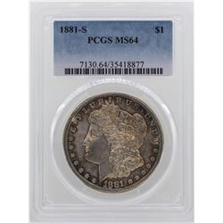 1881-S $1 Morgan Silver Dollar Coin PCGS MS64 NICE TONING