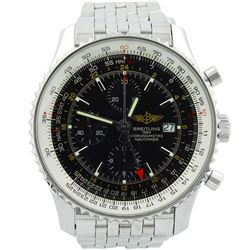 Breitling Mens Navitimer World Stainless Steel 46mm Black DialWatch