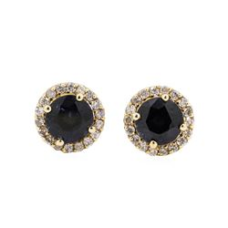 14KT Yellow Gold 2.45 ctw Sapphire and Diamond Halo Stud Earrings
