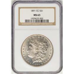1891-CC $1 Morgan Silver Dollar Coin NGC MS63