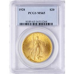 1928 $20 St. Gaudens Double Eagle Gold Coin PCGS MS65