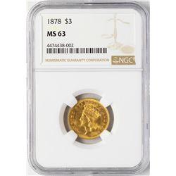 1878 $3 Indian Princess Head Gold Coin NGC MS63
